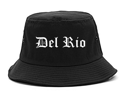 Del Rio Texas TX Old English Mens Bucket Hat Black