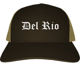 Del Rio Texas TX Old English Mens Trucker Hat Cap Brown