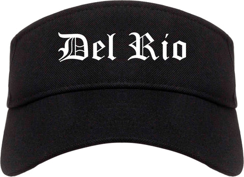 Del Rio Texas TX Old English Mens Visor Cap Hat Black