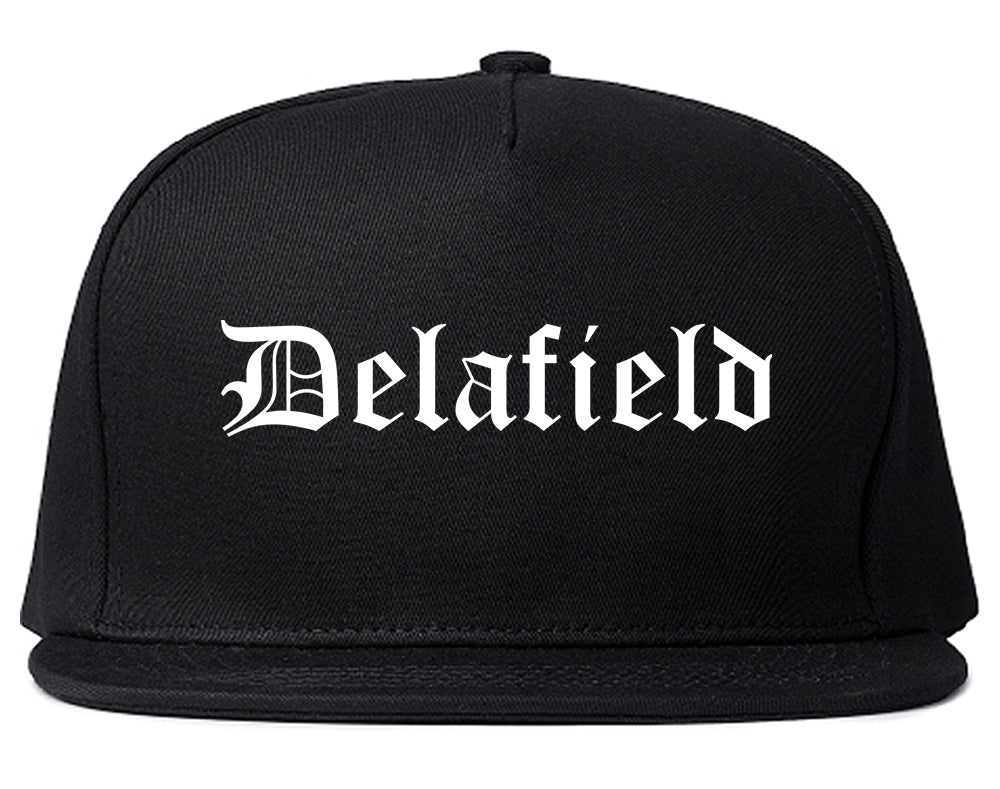 Delafield Wisconsin WI Old English Mens Snapback Hat Black