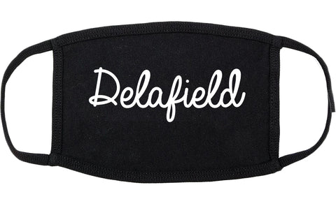 Delafield Wisconsin WI Script Cotton Face Mask Black