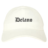 Delano California CA Old English Mens Dad Hat Baseball Cap White
