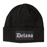 Delano Minnesota MN Old English Mens Knit Beanie Hat Cap Black