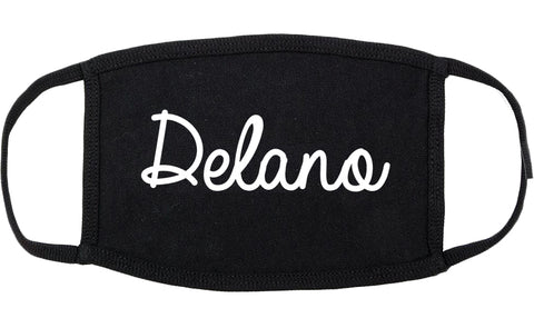Delano Minnesota MN Script Cotton Face Mask Black