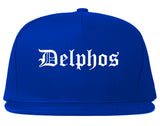 Delphos Ohio OH Old English Mens Snapback Hat Royal Blue