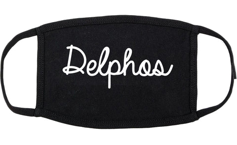 Delphos Ohio OH Script Cotton Face Mask Black