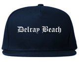 Delray Beach Florida FL Old English Mens Snapback Hat Navy Blue