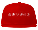 Delray Beach Florida FL Old English Mens Snapback Hat Red