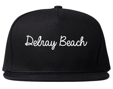 Delray Beach Florida FL Script Mens Snapback Hat Black
