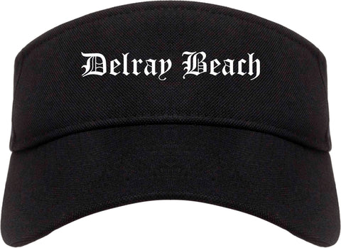 Delray Beach Florida FL Old English Mens Visor Cap Hat Black