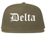 Delta Colorado CO Old English Mens Snapback Hat Grey