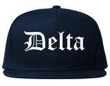 Delta Colorado CO Old English Mens Snapback Hat Navy Blue