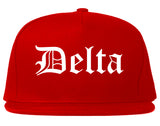 Delta Colorado CO Old English Mens Snapback Hat Red