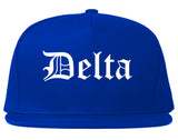 Delta Colorado CO Old English Mens Snapback Hat Royal Blue