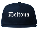 Deltona Florida FL Old English Mens Snapback Hat Navy Blue