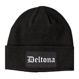 Deltona Florida FL Old English Mens Knit Beanie Hat Cap Black