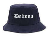 Deltona Florida FL Old English Mens Bucket Hat Navy Blue