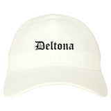 Deltona Florida FL Old English Mens Dad Hat Baseball Cap White