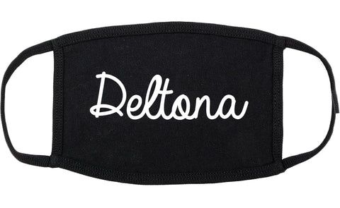Deltona Florida FL Script Cotton Face Mask Black