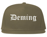 Deming New Mexico NM Old English Mens Snapback Hat Grey