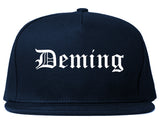 Deming New Mexico NM Old English Mens Snapback Hat Navy Blue