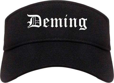 Deming New Mexico NM Old English Mens Visor Cap Hat Black