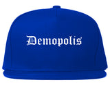Demopolis Alabama AL Old English Mens Snapback Hat Royal Blue