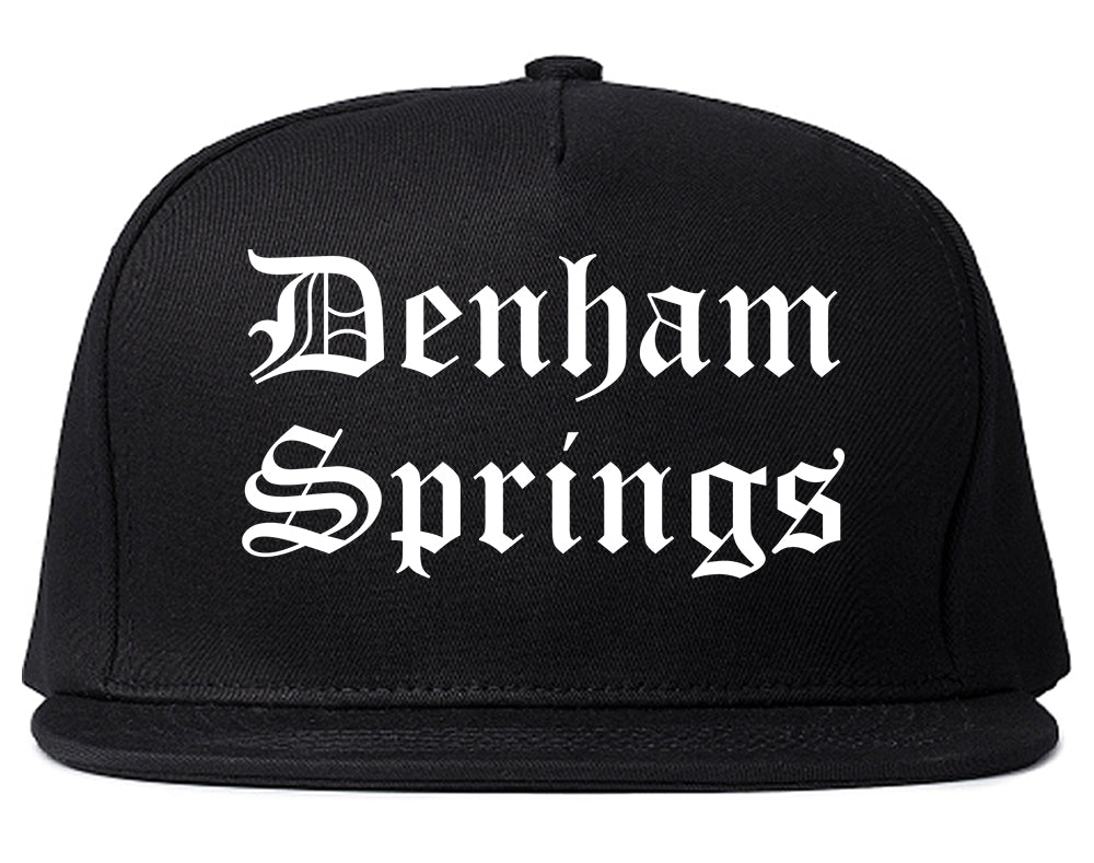 Denham Springs Louisiana LA Old English Mens Snapback Hat Black