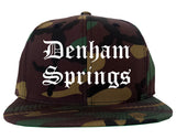 Denham Springs Louisiana LA Old English Mens Snapback Hat Army Camo
