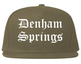 Denham Springs Louisiana LA Old English Mens Snapback Hat Grey