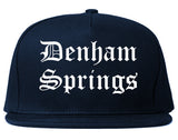 Denham Springs Louisiana LA Old English Mens Snapback Hat Navy Blue