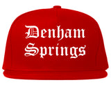 Denham Springs Louisiana LA Old English Mens Snapback Hat Red