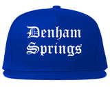 Denham Springs Louisiana LA Old English Mens Snapback Hat Royal Blue