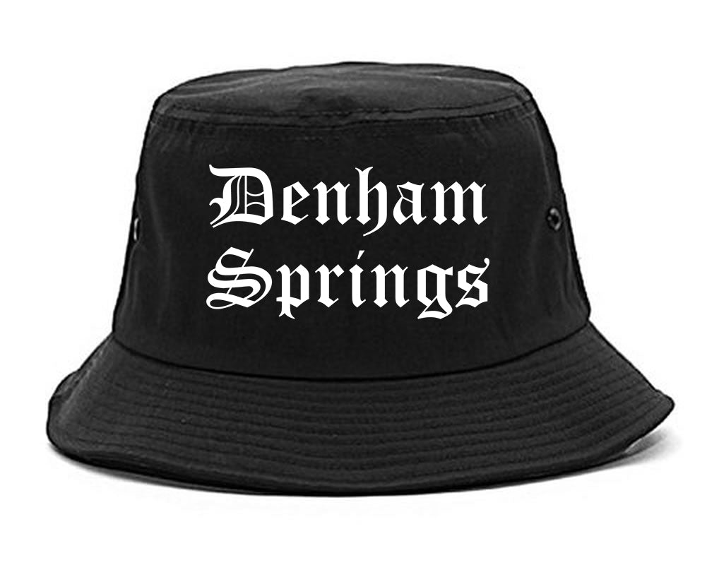 Denham Springs Louisiana LA Old English Mens Bucket Hat Black