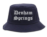 Denham Springs Louisiana LA Old English Mens Bucket Hat Navy Blue