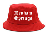 Denham Springs Louisiana LA Old English Mens Bucket Hat Red