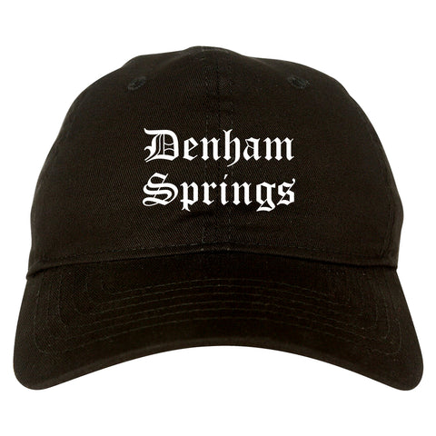 Denham Springs Louisiana LA Old English Mens Dad Hat Baseball Cap Black