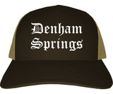 Denham Springs Louisiana LA Old English Mens Trucker Hat Cap Brown