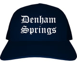 Denham Springs Louisiana LA Old English Mens Trucker Hat Cap Navy Blue