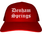 Denham Springs Louisiana LA Old English Mens Trucker Hat Cap Red