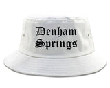 Denham Springs Louisiana LA Old English Mens Bucket Hat White