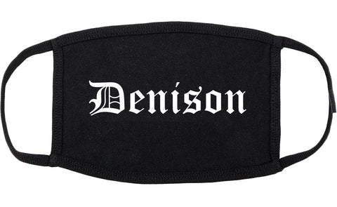 Denison Iowa IA Old English Cotton Face Mask Black
