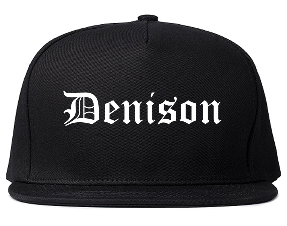 Denison Iowa IA Old English Mens Snapback Hat Black