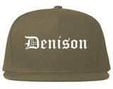 Denison Iowa IA Old English Mens Snapback Hat Grey