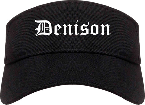 Denison Iowa IA Old English Mens Visor Cap Hat Black