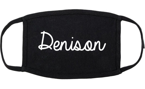 Denison Texas TX Script Cotton Face Mask Black