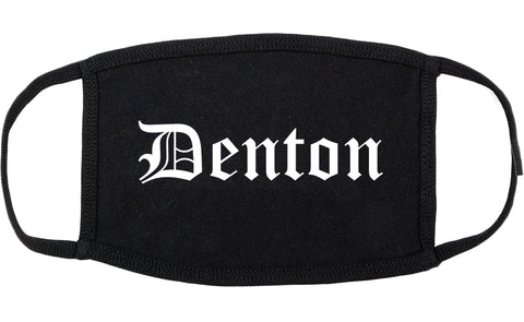 Denton Texas TX Old English Cotton Face Mask Black