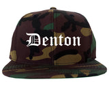 Denton Texas TX Old English Mens Snapback Hat Army Camo