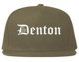 Denton Texas TX Old English Mens Snapback Hat Grey