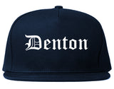 Denton Texas TX Old English Mens Snapback Hat Navy Blue